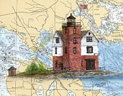 Map Art Painting Posters - Round Island Lighthouse MI Chart Map Art Cathy Peek Poster by Cathy Peek