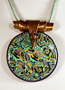 Gold Abstract Jewelry Originals - Round Pendant by P Russell