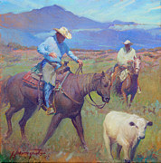 Cattle Drives Prints - Round Up at Star Ranch Print by Ernest Principato