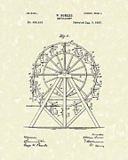 Wheel Drawings Prints - Roundabout 1893 Patent Art  Print by Prior Art Design