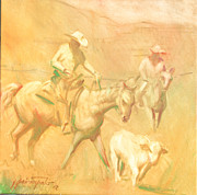 Calves Prints - Rounding up stray at Star Ranch Print by Ernest Principato