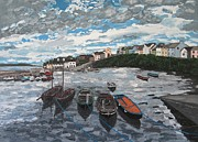 Connemara Paintings - Roundstone Harbour Roundstone Connemara Ireland by Diana Shephard