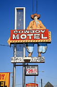 66 Framed Prints - Route 66 - Cowboy Motel Framed Print by Frank Romeo