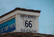 Old Roadway Metal Prints - Route 66 - End of the Trail Metal Print by Kim Hojnacki