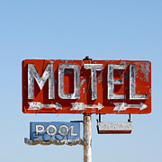 Blue Blocks Posters - Route 66 Motel Sign Poster by Art Blocks