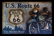 Photography By Tom Woolworth Posters - Route 66 Odell IL Gas Station Motorcycle Signage Poster by Thomas Woolworth