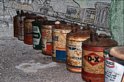 Motor Oil Framed Prints - Route 66 Odell IL Gas Station Oil Cans Digital Art Framed Print by Thomas Woolworth