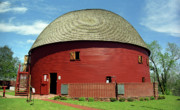 Grass Posters Prints - Route 66 - Round Barn Print by Frank Romeo