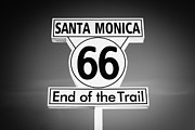 Santa Monica Posters - Route 66 Sign in Santa Monica in Black and White Poster by Paul Velgos