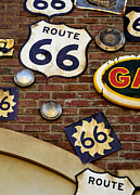 Highway Signs Framed Prints - Route 66 Signs Framed Print by Michael Simoneit