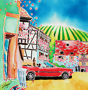 Alsace Framed Prints - Route des vins Framed Print by Hisayo Ohta