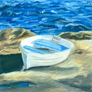 Maine Coast Drawings - Row Boat in York Maine by Dominic White