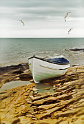 Seagull Metal Prints - Row Boat on Rocky Shore Metal Print by Jill Battaglia