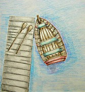 Row Boat Drawings Prints - Row Boat Print by Thuraya R