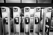 Kiosks Posters - row of bell public telephones Vancouver BC Canada Poster by Joe Fox
