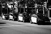 Catalunya Prints - Row Of Black And Yellow Taxi Cabs In Barcelona City Centre Catalonia Spain Print by Joe Fox
