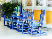 Rocking Chairs Posters - Row of Blue Rocking Chairs Poster by Susan Savad