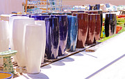 Stoneware Prints - Row Of Colorful Pottery Print by Viktor Savchenko