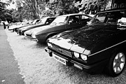 Rally Prints - Row Of Ford Capri Vehicles At A Classic Car Rally County Down Northern Ireland Uk Print by Joe Fox
