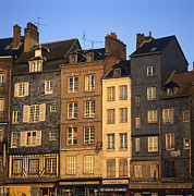 Real Prints - Row of houses. Honfleur Harbour. Calvados. Normandy. France. Europe Print by Bernard Jaubert