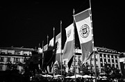 Town Square Prints - Row Of Red And White 750 Years Celebration Banners In Rynek Glowny Town Square Krakow Print by Joe Fox