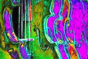 Violin Digital Art Metal Prints - Row of Violins - 20130129v4 Metal Print by Wingsdomain Art and Photography