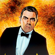 Clock Painting Framed Prints - Rowan Atkinson alias Johnny English Framed Print by Paul  Meijering