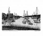 Sailboats Drawings Framed Prints - Rowayton Harbor Framed Print by Bruce Kay