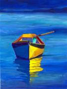 Boats In Water Painting Posters - Rowboat Poster by Sandy Linden