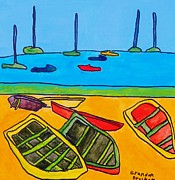 Brandon Drucker Prints - Rowboats Print by Brandon Drucker