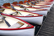 Docked Boats Photo Prints - Rowboats Print by Elena Elisseeva