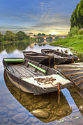 Swiss Landscape Framed Prints - Rowboats on the French Canals Framed Print by Debra and Dave Vanderlaan