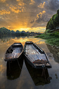 Spring Scenes Posters - Rowboats on the River Poster by Debra and Dave Vanderlaan