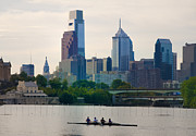 Philly Skyline Art - Rowers in Philadelphia by Bill Cannon