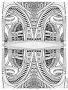 Boston Ma Drawings Prints - Rowes Wharf Escher-esque Print by Conor Plunkett