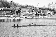 Rowing Crew Digital Art Prints - Rowing Along the Schuylkill River in Black and White Print by Bill Cannon