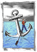 Differences Digital Art Posters - Rowing Anchor Poster by Steve Dininno