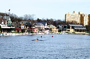 Rower Prints - Rowing at Boathouse Row Print by Bill Cannon