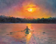 Sunrise Painting Framed Prints - Rowing Away Framed Print by Eve  Wheeler