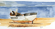 Seashore Drawings Metal Prints - Rowing boat Metal Print by Eva Ason