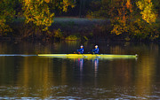 Rowing Crew Digital Art Posters - Rowing in Autumn Poster by Bill Cannon