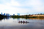 Boathouse Row Philadelphia Prints - Rowing in Philadelphia Print by Bill Cannon