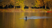 Fall  Of River Digital Art - Rowing in the Golden Light of Autumn by Bill Cannon