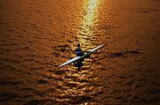Rowing Crew Digital Art Posters - Rowing into the Sunset Poster by Bill Cannon