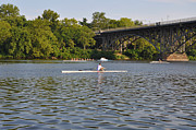 Row Boat Digital Art - Rowing on the Schuylkill River by Bill Cannon