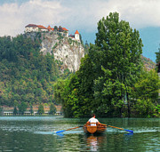 Bled Prints - Rowing Under the Castle Print by Douglas J Fisher