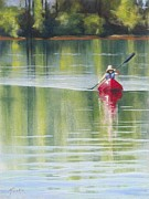 Kayaking Pastels Posters - Rows Her Own - Celebrating the Feminine Spirit Poster by Marjie Eakin-Petty
