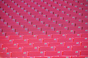 Basketball Players Prints - Rows of Red Stadium Seats Print by Birgit Tyrrell