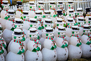 Rows Prints - Rows of snowmen Print by Garry Gay
