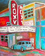Litvack.old Cars Paintings - Roxy Theatre St. Agathe by Michael Litvack